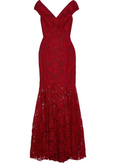 Milly Woman Layla Fluted Lace Gown Crimson