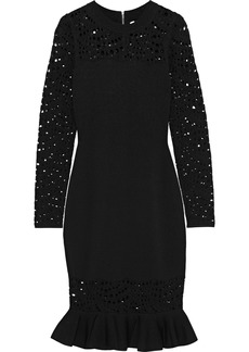Milly Woman Fluted Laser-cut Stretch-knit Dress Black