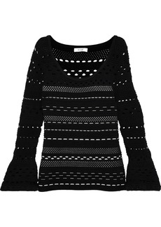Milly Woman Ribbed Open-knit Jacquard Sweater Black