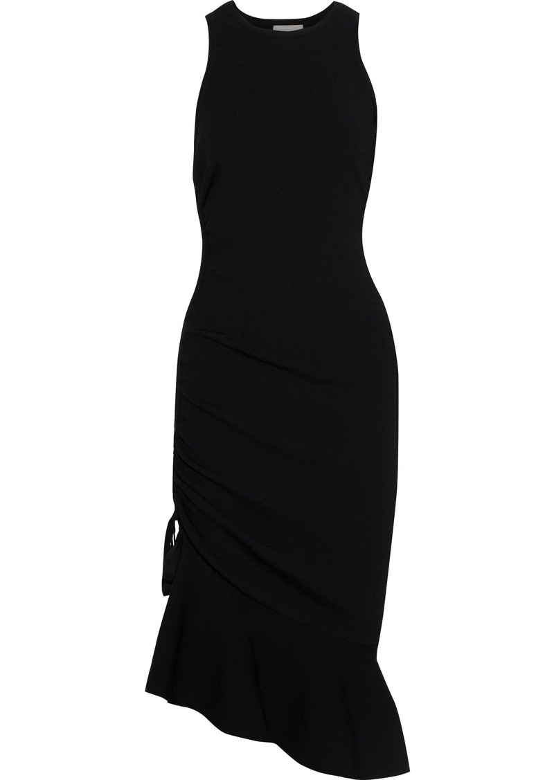 Milly Woman Fluted Ruched Ponte Dress Black