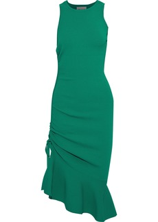 Milly Woman Fluted Ruched Ponte Dress Jade