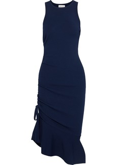 Milly Woman Fluted Ruched Ponte Dress Navy