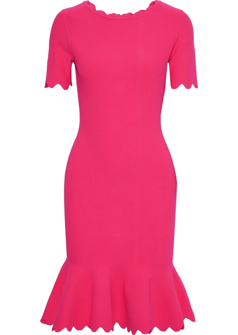 Milly Woman Fluted Stretch-crepe Dress Bright Pink