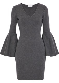 Milly Woman Fluted Stretch-knit Mini Dress Anthracite
