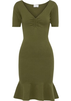 Milly Woman Fluted Stretch-knit Mini Dress Army Green