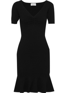 Milly Woman Fluted Stretch-knit Mini Dress Black