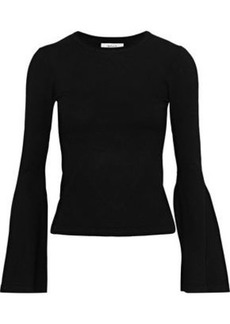 Milly Woman Fluted Stretch-knit Sweater Black