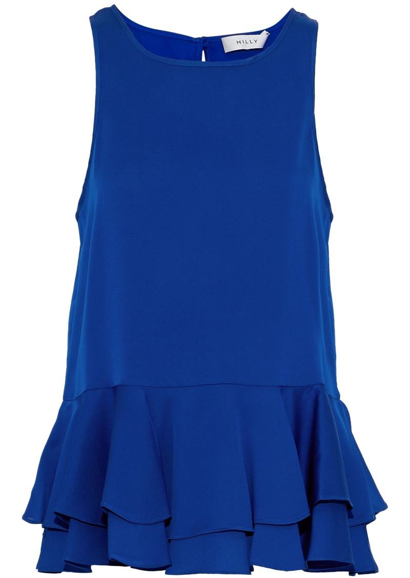 Milly Woman Fluted Stretch-silk Peplum Top Cobalt Blue