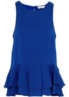 Milly Woman Ruffled Stretch Silk-satin Top Cobalt Blue