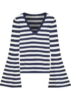Milly Woman Fluted Striped Stretch-knit Sweater Navy