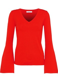 Milly Woman Fluted Striped Stretch-knit Sweater Red