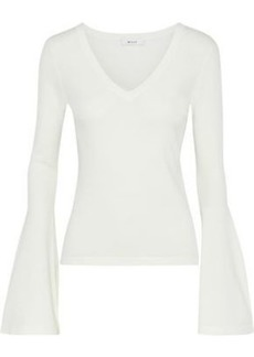 Milly Woman Fluted Striped Stretch-knit Sweater White