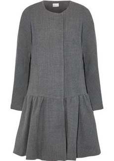 Milly Woman Fluted Wool-blend Twill Coat Gray