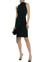 Milly Woman Fringe-trimmed Stretch-knit Dress Emerald