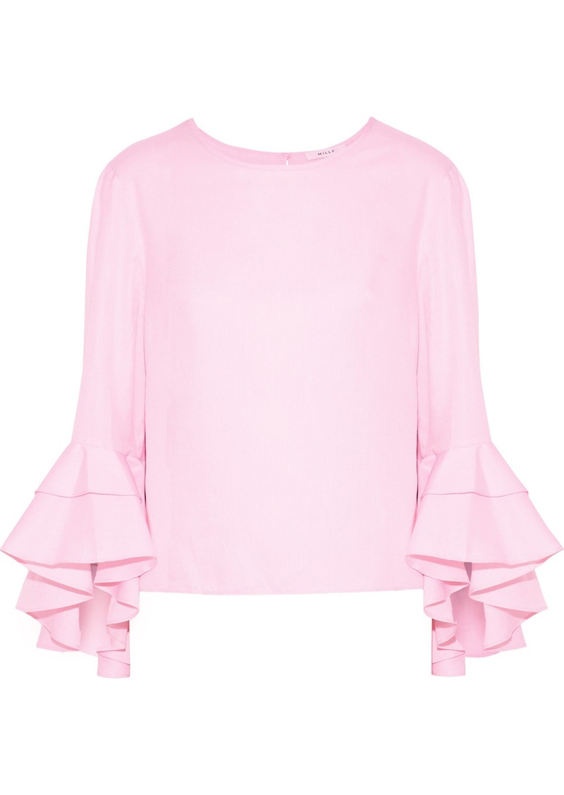 Milly Woman Gabby Ruffled Cotton Top Baby Pink