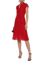 Milly Woman Gabby Tie-neck Polka-dot Silk Crepe De Chine Dress Red