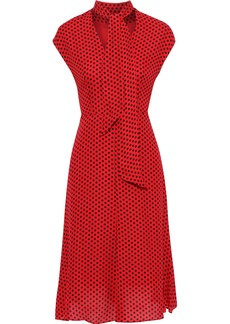 Milly Woman Gabby Tie-neck Polka-dot Silk Crepe De Chine Dress Red