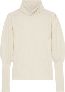 Milly Woman Gathered Ribbed Cashmere Sweater White
