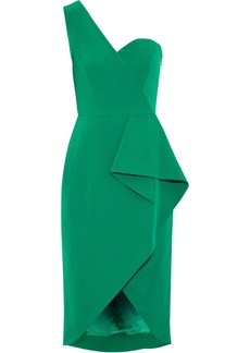 Milly Woman Gina One-shoulder Draped Crepe Dress Green