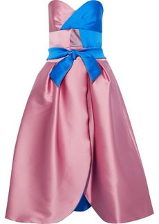 Milly Woman Haley Strapless Two-tone Duchesse-satin Midi Dress Blush