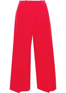 Milly Woman Hayden Cropped Cady Wide-leg Pants Red