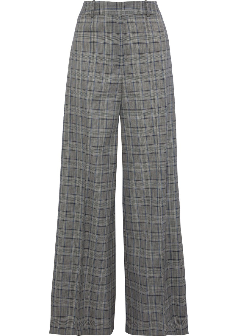 Milly Woman Hayden Prince Of Wales Checked Wool Wide-leg Pants Gray