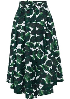 Milly Woman Jackie Pleated Printed Stretch-cotton Midi Skirt Emerald