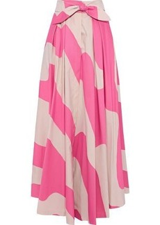 Milly Woman Jackie Tie-front Striped Cotton-blend Maxi Skirt Pink