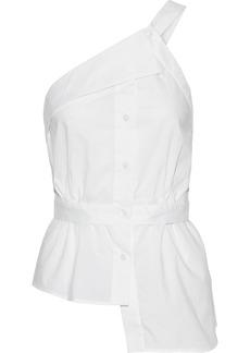 Milly Woman Jill One-shoulder Asymmetric Cotton-poplin Top White