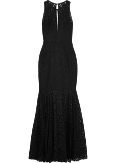 Milly Woman Joan Fluted Cutout Lace Gown Black