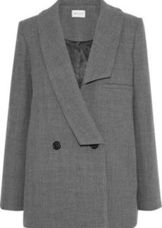 Milly Woman Katie Double-breasted Wool-blend Twill Coat Gray