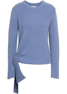 Milly Woman Knotted Ribbed Cotton-blend Sweater Light Blue