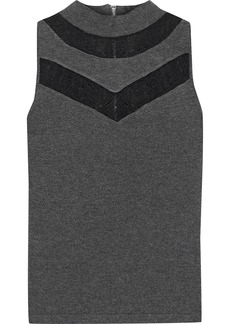 Milly Woman Lace-trimmed Jersey Top Dark Gray