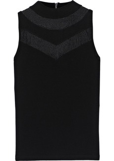 Milly Woman Lace-trimmed Jersey Top Black