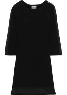 Milly Woman Lace-trimmed Stretch-knit Mini Dress Black