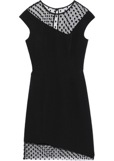 Milly Woman Lillian Flocked Tulle-paneled Stretch-cady Dress Black
