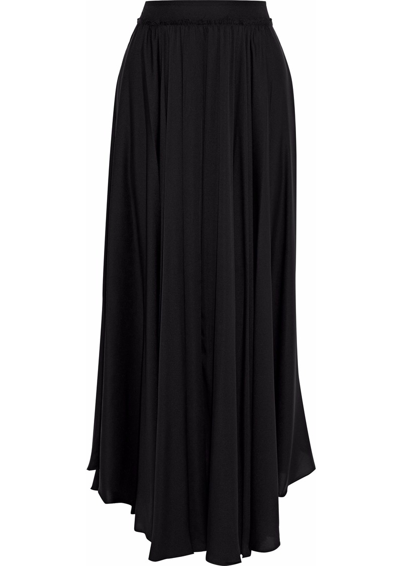 Milly Woman Lou Lou Gathered Stretch-silk Maxi Skirt Black