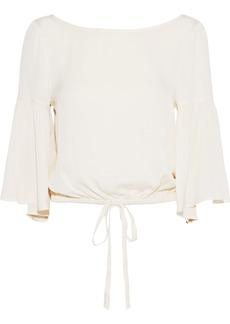 Milly Woman Lydia Bow-detailed Stretch-silk Blouse Ecru