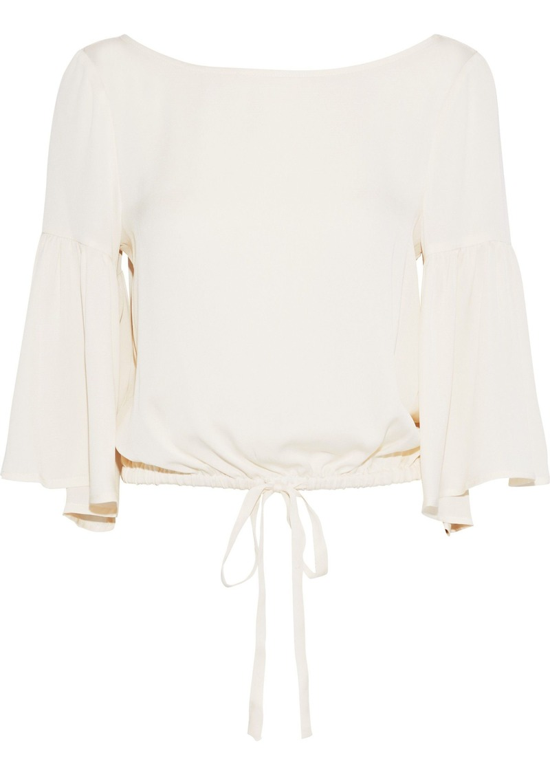 Milly Woman Lydia Bow-detailed Stretch-silk Blouse Ecru