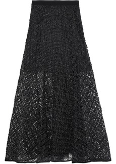 Milly Woman Raffia-effect Macramé Maxi Skirt Black