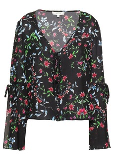 Milly Woman Maggie Floral-print Silk-crepe Blouse Black