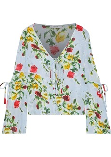 Milly Woman Maggie Floral-print Silk Crepe De Chine Blouse Sky Blue