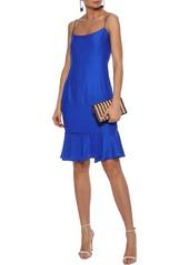 Milly Woman Mandy Fluted Crepe De Chine Dress Cobalt Blue