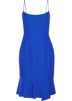 Milly Woman Mandy Fluted Crepe De Chine Dress Cobalt Blue