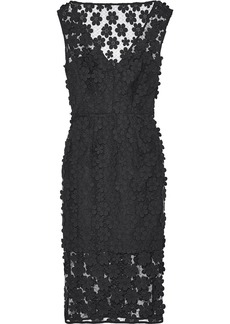 Milly Woman Mari Floral-appliquéd Mesh Dress Black