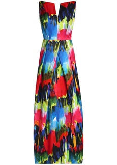 Milly Woman Marilia Open-back Printed Cotton-blend Gown Multicolor