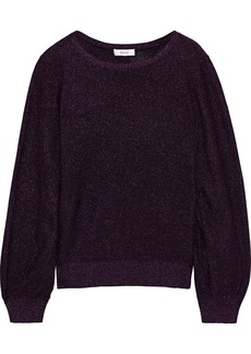 Milly Woman Metallic Cotton-blend Sweater Violet
