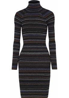Milly Woman Metallic Striped Ribbed-knit Mini Dress Charcoal