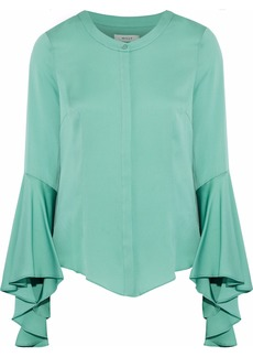 Milly Woman Michelle Fluted Stretch-silk Blouse Jade