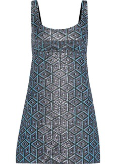Milly Woman Mod Metallic Jacquard Mini Dress Light Blue